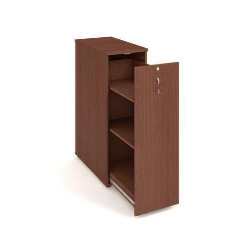 Přístavbová střední skříň, 117,7 x 40 x 80 cm, výsuvná se dvěma policemi - pravé provedení, dezén ořech - Prodloužená záruka na 10 let