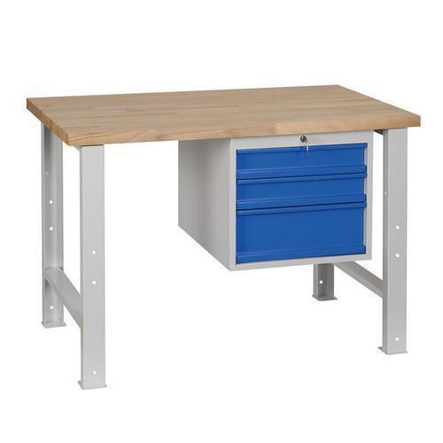Dílenský stůl Weld se 3 zásuvkami, 84 x 120 x 68,5 cm, šedý - Prodloužená záruka na 10 let