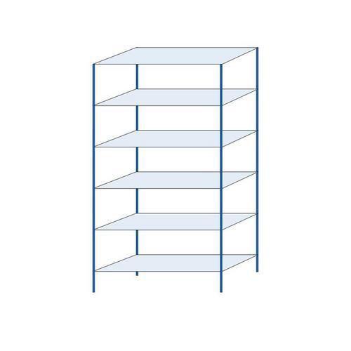 Kovový regál, základní, 250 x 130 x 50 cm, 2 000 kg, 6 polic, modrý