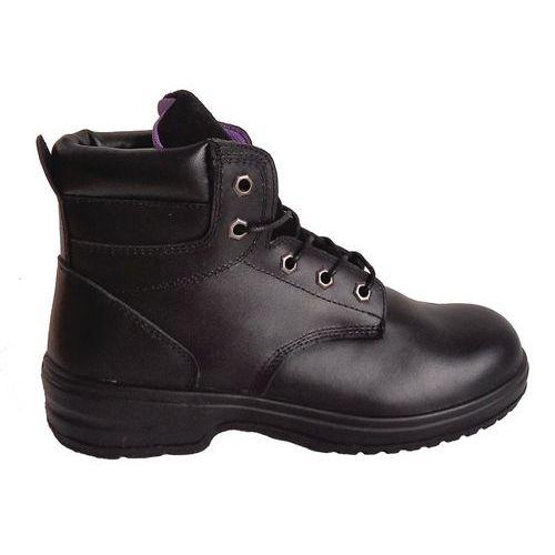 Pracovní koženkové kotníkové boty Manutan s ocelovou špicí, dámské, černé