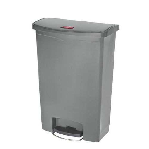 Plastový odpadkový koš Rubbermaid Front Step, objem 90 l, šedá - Prodloužená záruka na 10 let