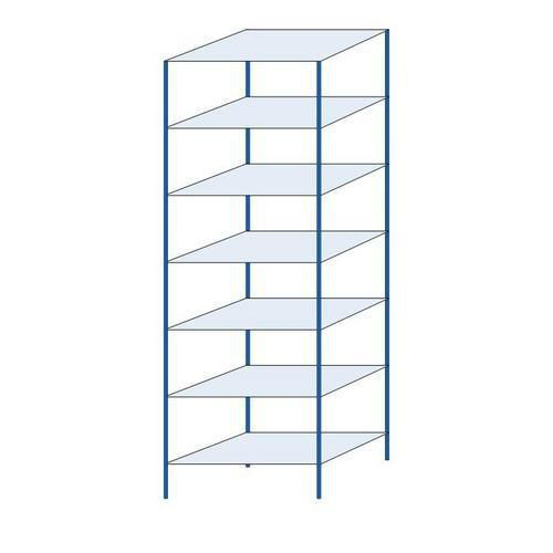 Kovový regál, základní, 300 x 100 x 60 cm, 2 000 kg, 7 polic, modrý