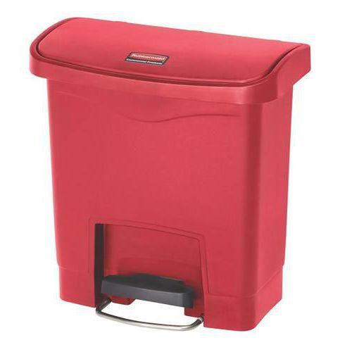 Plastový odpadkový koš Rubbermaid Front Step, objem 15 l, červený