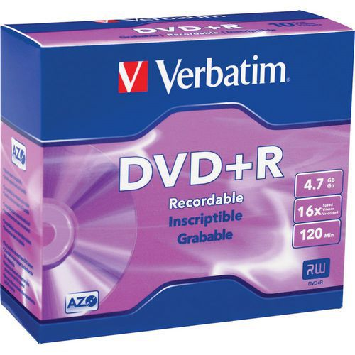 Verbatim DVD+R 4,7 GB 16x, AZO, slim box, 5 ks