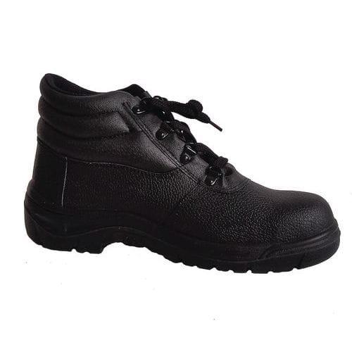 Pracovní kožené kotníkové boty Manutan s ocelovou špicí, černé