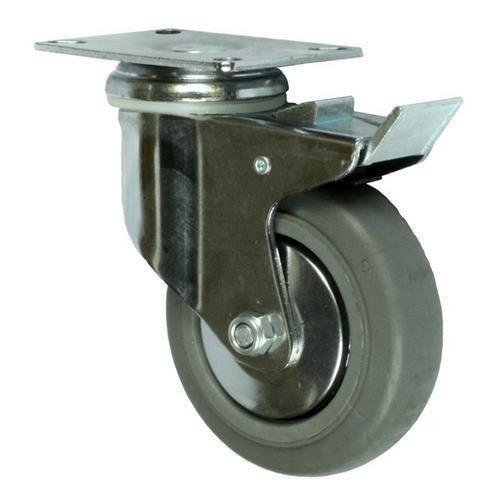Gumové přístrojové kolo s přírubou, průměr 100 mm, otočné s brzd