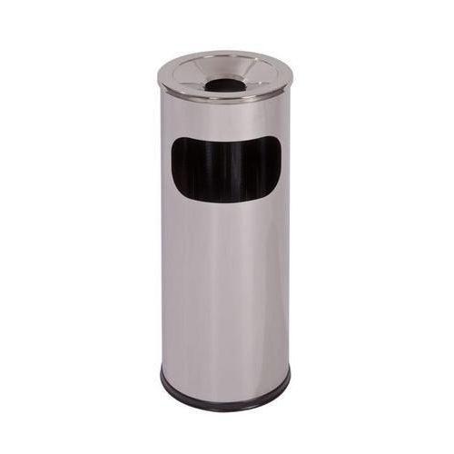 Kovový odpadkový koš s popelníkem, objem 11,5 l, matný nerez