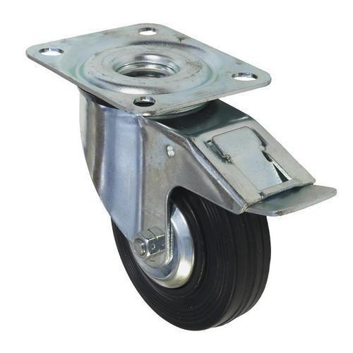 Gumové transportní kolo s přírubou, průměr 100 mm, otočné s brzd