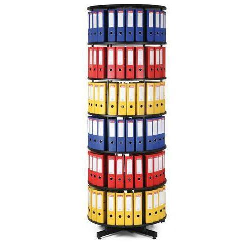 Otočná skříň na pořadače, průměr 81 cm, černá, 6 pater