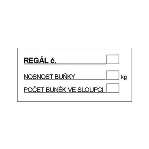 Informační bezpečnostní tabulky - Označení regálu, plast