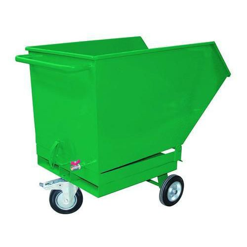 Pojízdný výklopný kontejner se sítem, výpustným kohoutem a kapsami pro vysokozdvižný vozík, objem 400 l, zelený