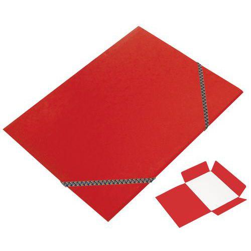 Složka tříklopá s gumou, červená