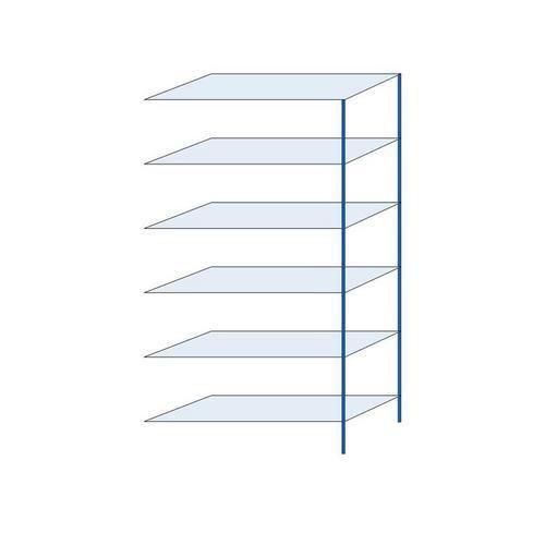 Kovový regál, přístavbový, 250 x 130 x 50 cm, 2 000 kg, 6 polic, modrý