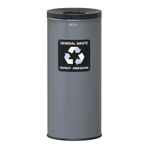 Kovové odpadkové koše EKO na tříděný odpad, objem 45 l, černý