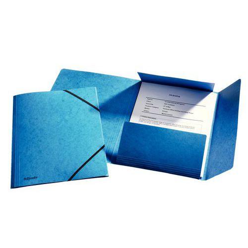 Složka tříklopá s gumou, modrá