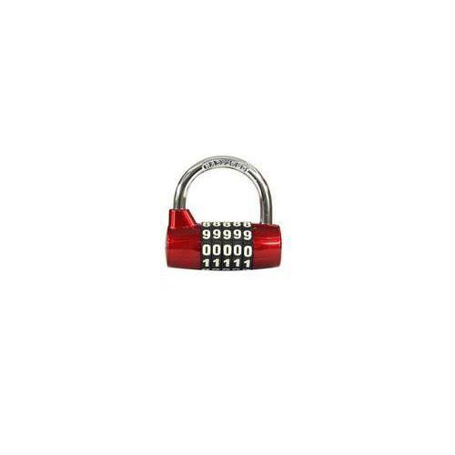 Kódový visací zámek, zinek, červený, průměr třmene 7 mm, výška 3