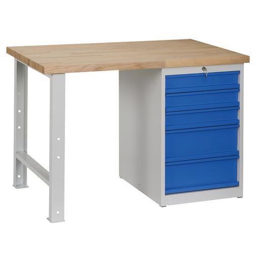 Dílenský stůl Weld s 5 zásuvkami, 84 x 120 x 68,5 cm, šedý - Prodloužená záruka na 10 let