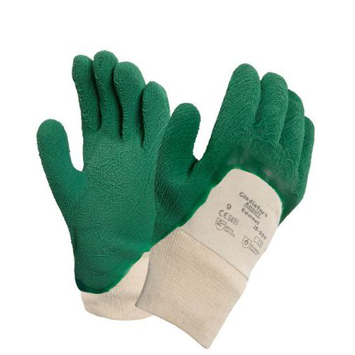 Bavlněné rukavice Ansell polomáčené v kaučuku, zelené/bílé, vel.