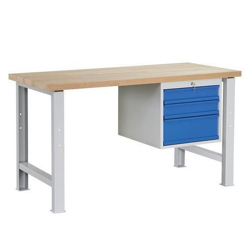 Dílenský stůl Weld se 3 zásuvkami, 84 x 150 x 68,5 cm, šedý