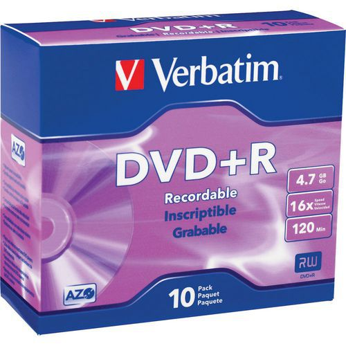 Verbatim DVD+R 4,7 GB 16x, AZO, slim box, 10 ks