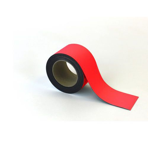 Magnetická páska na regály Manutan, 10 m, červená, šířka 70 mm