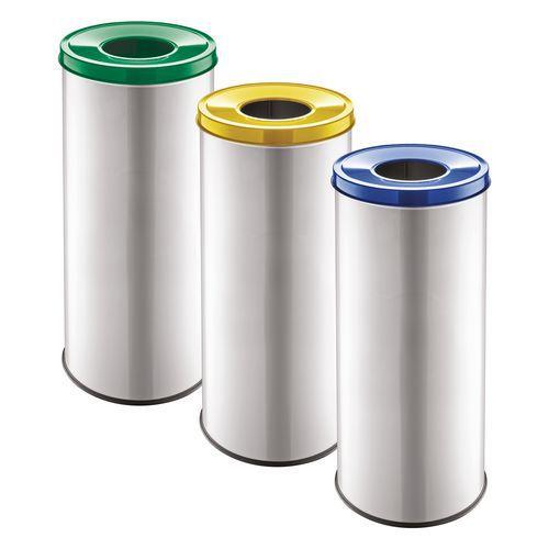 Sada 3 ks kovových odpadkových košů EKO na tříděný odpad, objem 3 x 45 l