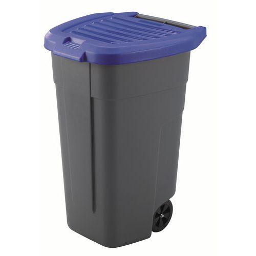 Plastová popelnice na tříděný odpad, objem 100 l, modrá