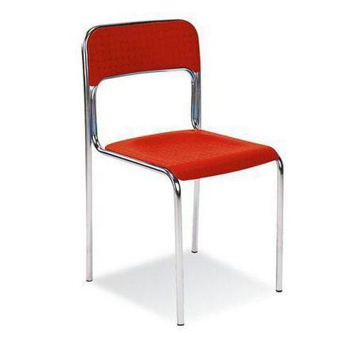Plastová jídelní židle Cortina Chrom, červená