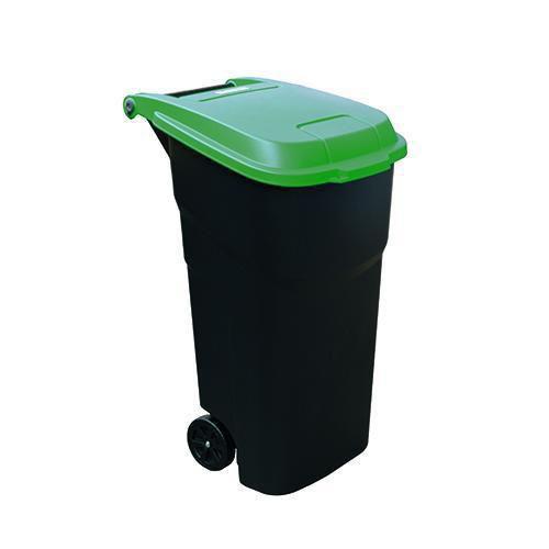 Plastová venkovní popelnice Manutan na tříděný odpad, objem 100 l, víko zelené