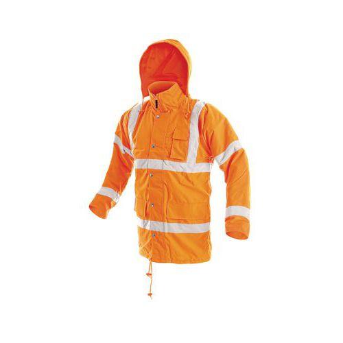 Zimní reflexní nepromokavá bunda s kapucí, oranžová, vel. M