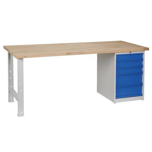 Dílenský stůl Weld s 5 zásuvkami, 84 x 200 x 80 cm, šedý - Prodloužená záruka na 10 let