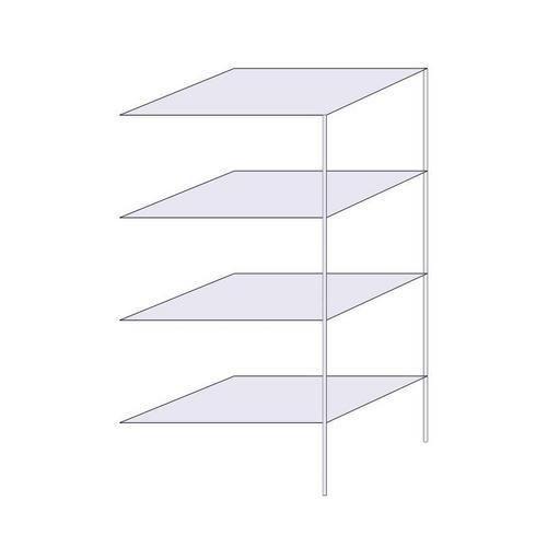 Drátěný regál, přístavbový, 180 x 90,7 x 61 cm, 4 police, stříbrný