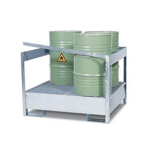 Stanice na nebezpečné látky na sudy 200 l, možnost závory, 4 sudy, pozink - Prodloužená záruka na 10 let