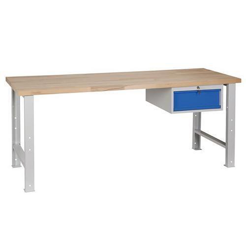 Dílenský stůl Weld se zásuvkou, 84 x 200 x 68,5 cm, šedý