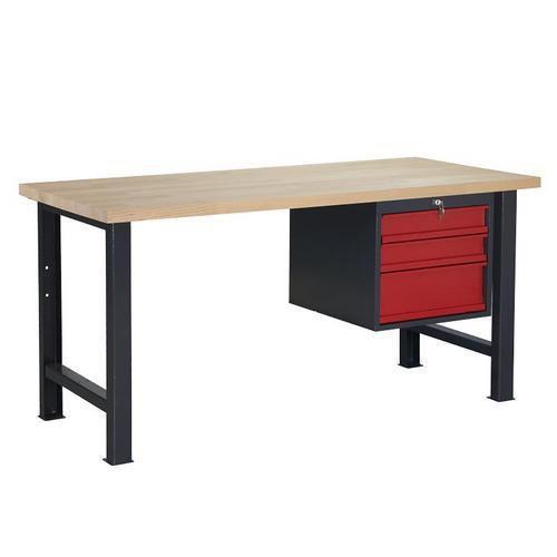 Dílenský stůl Weld se 3 zásuvkami, 84 x 170 x 80 cm, antracit