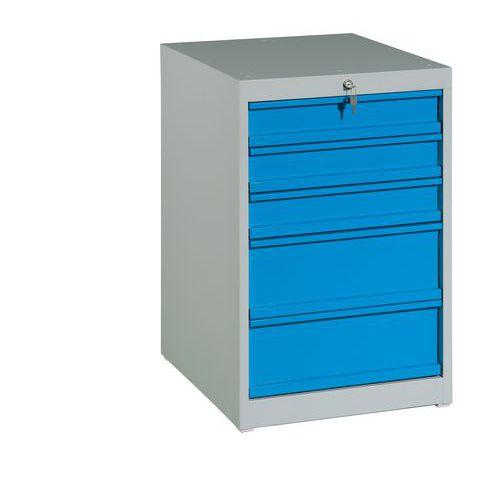 Zásuvkový kontejner, 80 x 51 x 59 cm, 5 zásuvek, šedý/modrý