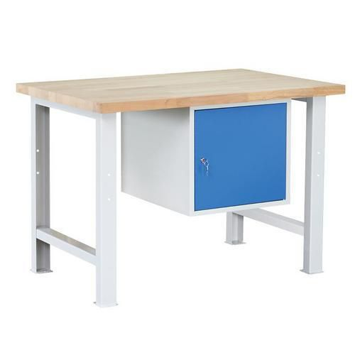 Dílenský stůl Weld se skříňkou 41 cm, 84 x 120 x 80 cm, šedý