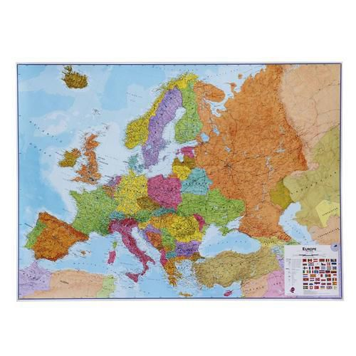 Politická mapa Evropy, 170 x 124 cm, oboustranně laminovaná, uch