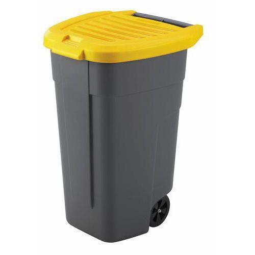 Plastová popelnice na tříděný odpad, objem 100 l, žlutá