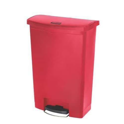Plastový odpadkový koš Rubbermaid Front Step, objem 90 l, červený - Prodloužená záruka na 10 let