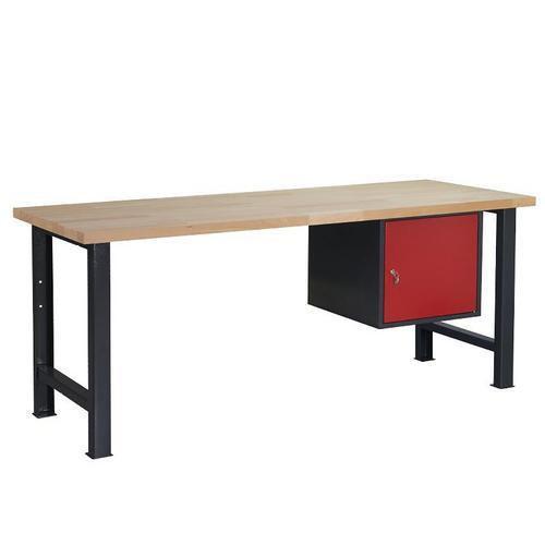 Dílenský stůl Weld se skříňkou 41 cm, 84 x 200 x 80 cm, antracit