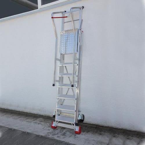 Pojízdný skládací hliníkový plošinový žebřík, 4 stupně