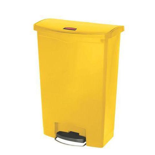 Plastový odpadkový koš Rubbermaid Front Step, objem 90 l, žlutý