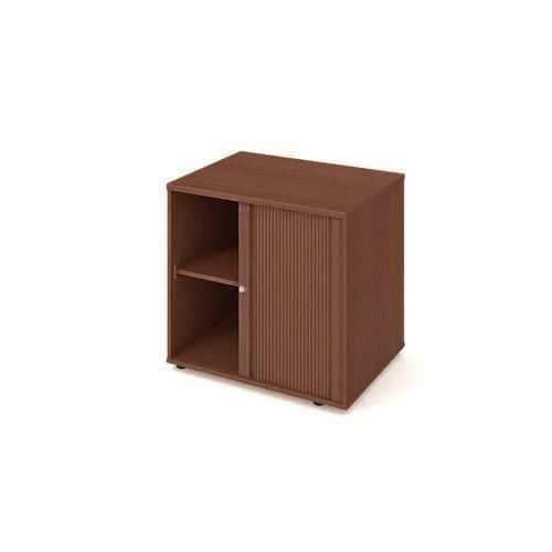 Nízká široká skříň Strong, 75,5 x 80 x 60 cm, s roletou - pravé provedení, dezén ořech