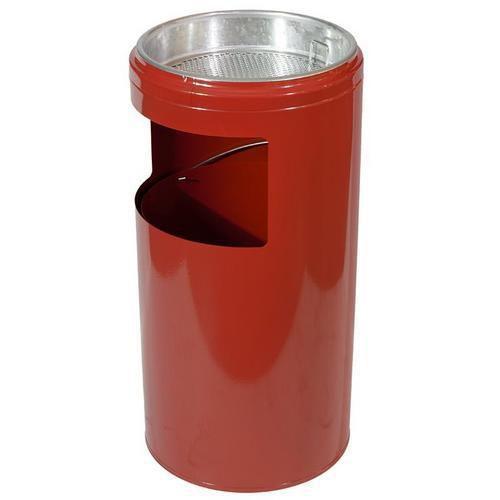 Kovový odpadkový koš s popelníkem, objem 20 l, červený
