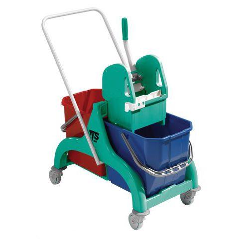 Úklidový vozík s pákovým ždímačem, objem 2 x 25 l