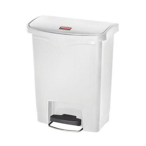 Plastový odpadkový koš Rubbermaid Front Step, objem 30 l, bílý