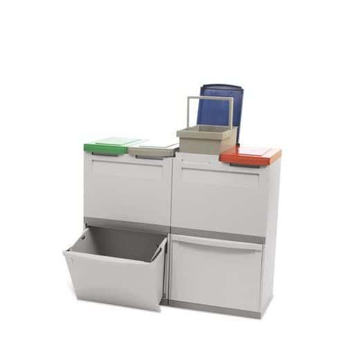 Plastový odpadkový koš EKOMODUL na tříděný odpad, objem 2 x 30 l + 4 x 15 l - Prodloužená záruka na 10 let