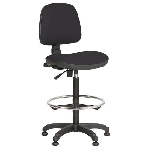 Zvýšená pracovní židle Monako plus s kluzáky, černá