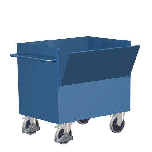 Skříňový vozík s madlem a plnými stěnami, do 500 kg, 1 sklopná s